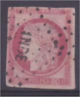 Timbre Cérès 80c Rose Oblitération Losange INDE - Cérès