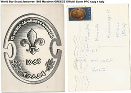 World Boy Scout Jamboree 1963 Marathon GREECE Official Event PPC 4aug X Italy - Scouting