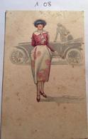 Cpa N° 453-1, Illustrateur Signée MAUZAN, Femme élégante Avec Chapeau Et Canne, Second Plan Vieille Voiture Décapotable - Mauzan, L.A.