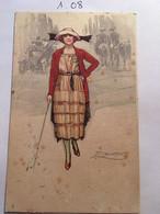 Cpa N° 453-2, Illustrateur Signée MAUZAN, Femme élégante Avec Chapeau Et Canne, Second Plan Cavaliers Vieille Voiture - Mauzan, L.A.