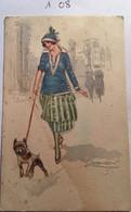 Cpa N° 453-3, Illustrateur Signée MAUZAN, Femme élégante Avec Chapeau Promenant Son Chien, 2 ème Plan Rue Maisons Femmes - Mauzan, L.A.