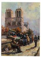 PARIS 4°---illustrateur ?????--Les Bouquinistes  (animée)....Notre-Dame Au Second Plan.........à Saisir - Arrondissement: 04