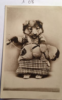 Cpa écrite En 1925, 2 Chiens Habillés (humanisés), éd Jounok (imprimé En Italie) N° 140 - Dressed Animals