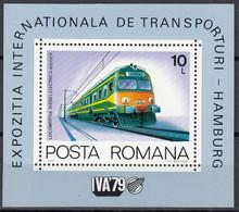 RUMÄNIEN Block 166, Postfrisch **, Internationale Verkehrsausstellung, Hamburg: Eisenbahn, Lokomotiven, 1979 - Blocks & Kleinbögen