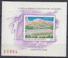 RUMÄNIEN Block 162, Postfrisch **, Olympische Sommerspiele, Moskau (1980) (I): Olympiastadien, 1979 - Blocks & Kleinbögen