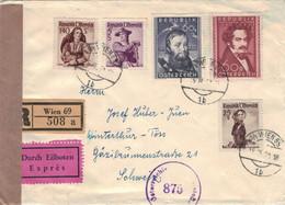 Reko Express Wien 1950 > Winterthur (rsA) - Andreas Hofer - Moritz Daffinger - Tracht Innviertel Zillertal - Zensur 875 - 1945-60 Lettres
