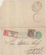 """HONGRIE : ENTIER POSTAL . CL . REC . AVEC COMPlt D'AFFRt . """" VAREADINSKE TOPLICE """" . POUR ZAGREB . 1891 . - Postal Stationery"""