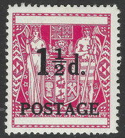New Zealand. 1950 Fiscal Stamp Overprinted. 1½d MH. SG 700 - Unused Stamps