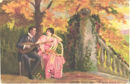 Man Playing Mandoline To Lady, Pre 1940 - Music And Musicians