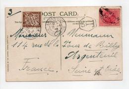 - Carte Postale PERTH (Western Australia) Pour ARGENTEUIL (Seine-et-Oise) 30.3.1908 - TAXÉE 10 C. Brun Type Duval - - 1859-1955 Lettres & Documents