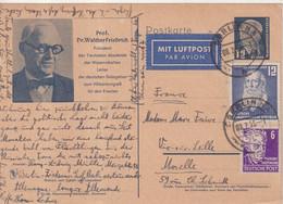 ALLEMAGNE DDR : ENTIER POSTAL .  CPA . AVEC COMPlt D'AFFRt . POUR LA FRANCE . 1953 . - Postkarten - Gebraucht