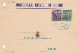 CARTOLINA POSTALE RSI 1+25 TIMBRO AZZURRO VICENZA 1945 (RY643 - Marcophilia