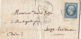 LETTERA 1859 IMPERO FRANCESE 20 C.sciupata Al Verso (RY683 - 1849-1876: Klassik