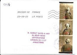 TP N° 5394 + 2 VIGNETTES SUR LETTRE DU 23.6.20 POUR L'ANGLETERRE - 1961-....
