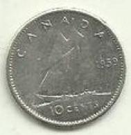 S-10 Cents 1959 Canadá Silver - Canada
