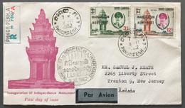 Cambodge - FDC - INAUGURATION DU MONUMENT - TAD Phnom - Penh - A Pour Les USA 9.11.1962 - (W1293) - Cambodja
