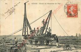 GENIE .  Ecole De Chemins De Fer .  CPA Animée ( Versailles 1909 ) . - Maniobras