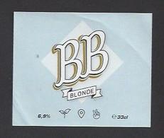 Etiquette De Bière Blonde -  Brasserie  BB  à  Hérin  (59) - Beer