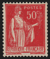 N°283d, Paix 50c Rose-rouge Type IIB, Neuf ** Sans Charnière, Signé CALVES - TB - Unused Stamps