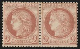 France N°51 Paire, Cérès 2c Rouge-brun, Neuf (*) Sans Gomme - COTE 100€ - B/TB - 1871-1875 Ceres