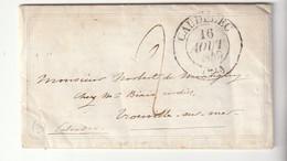 Lettre Valentine Avec Cachet Type 13 Caudebec Pour Trouville, Taxe 2, 1849 - 1849-1876: Klassik