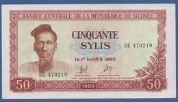 GUINEA - P.25 – 50 Sylis 1980 AUNC Serie DE470219 - Guinea