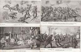 """4 CPA:GUERRE 1914 """"FUSILIERS MARINS REPOUSSENT ALLEMANDS,SOUS LE FEU DU 75,ALLEMANDS RADEAUX,REPOS SOLDATS ..ÉCRITES - Other Illustrators"""