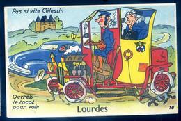 Cpa Du 65  Lourdes Carte à Système Pas Si Vite Célestin Ouvrez Le Tacot Pour Voir Avec Ses 10 Petites Images SPT21-07 - Lourdes