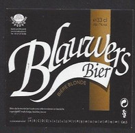Etiquette De Bière Blonde 33 Cl  -  Blauwers  -  Brasserie Terre Et Tradition à Querenaing   (59) - Beer