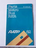 FRANCE PARIS PLAN METRO BUS RER  RATP 1982 - Europa