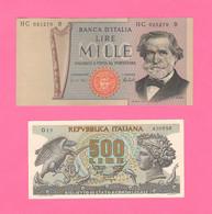 Italia 500 Lire Aretusa 1966 + 1000 MILLE Lire Verdi 1975  II° Tipo Repubblica Italiana - 1000 Liras