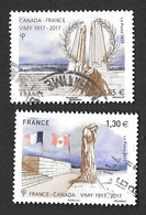 TIMBRES  FRANCE. OBLITERATION  RONDE..2017..PAIRE BATAILLE DE VIMY..N°5136/5137...TBE SCAN - Gebruikt