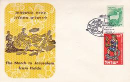 THE MARCH TO JERUSALEM FROM HULDA, LA MARCHE VERS JERUSALEM DEPUIS HULDA. ISRAEL SPC 6.1.1962.- LILHU - FDC