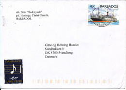Barbados Cover Sent To Denmark 1998 Single Franked - Barbados (1966-...)