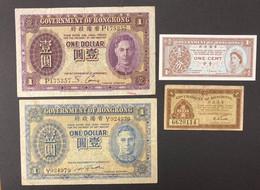 4 X Various Banknotes, Hong Kong, 1936 And 1940 Included - Hong Kong