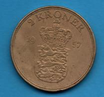 DANMARK 2 KRONER 1957 KM# 838 Frederik IX - Denmark
