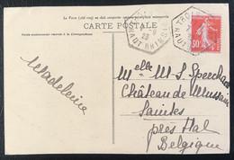 France 1923 De Trois-Epis Vers Hal Belgique Belle Oblitération Hexagonale (1150) - Cartas