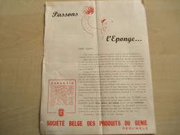 Ancien Document PASSONS L'EPONGE SOCIETE BELGE DES PRODUITS DU GENIE PERUWELZ - Sin Clasificación