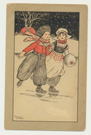 Carte Fantaisie - Illustrateur Florence TARDY - Enfants Russe Sur La Glace - Autres Illustrateurs