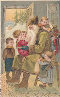 9764) Fröhliche WEIHNACHTEN - Super PRÄGE AK - Grüner Weihnachtsmann Kinder Geschenke Düsseldorf 1904 - Santa Claus