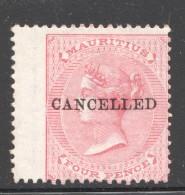 Victoria  4d. SG 62  CANCELLED  Wing Copy No Gum - Mauritius (...-1967)