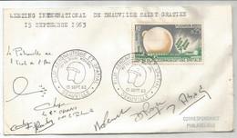 FRANCE 25C BODOU LETTRE FILM AERONAUTIQUE ET SPATIAL 15 SEPT 1963 DEAUVILLE + SIGNATURE PATROUILLE DE ECOLE AIR - Luftpost