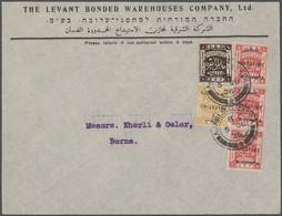 "Palästina: 1926/36, Covers (4), Stationery Card And Registration Envelope ""insured"" All To Switzerla - Palestina"