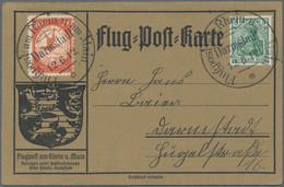 Flugpost Deutschland: 1912, Flugpost Rhein/Main, Vier Flugpostkarten: Zweimal Mit Flugpostmarke Zu 1 - Airmail