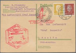 Zeppelinpost Deutschland: 1922/1939, Partie Von 14 Luftpost-Briefen/-Karten Incl. Zeppelinpost, Dabe - Airmail