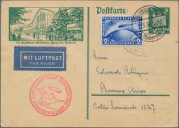 Zeppelinpost Deutschland: Nette Partie Von Ca. 35 Belegen Zeppelin Und Luftpost, Dabei Seltene Route - Airmail