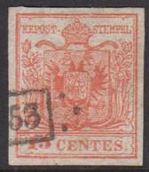 1850. Lombardei Und Venetien. 15  CENTES. Interesting Cancel 53.  () - JF424870 - Austrian Occupation