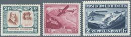 Liechtenstein: 1928/1931, Partie Von Drei Plattenfehlern: MiNr. 107 I, 113 II Und 115 II, Ungebrauch - Verzamelingen