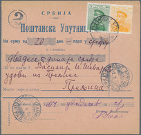 Serbien: 1912, Attractive Group Of 9 Domestic Money Orders, Comprising Single, Multiple And Mixed Fr - Serbia
