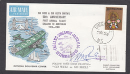SINGAPORE 1969. 50 TH ANNIVERSARY FIRST AIRMAIL FLIGHT ENGLAND TO AUSTRALIA,SIGNED. - Flugzeuge